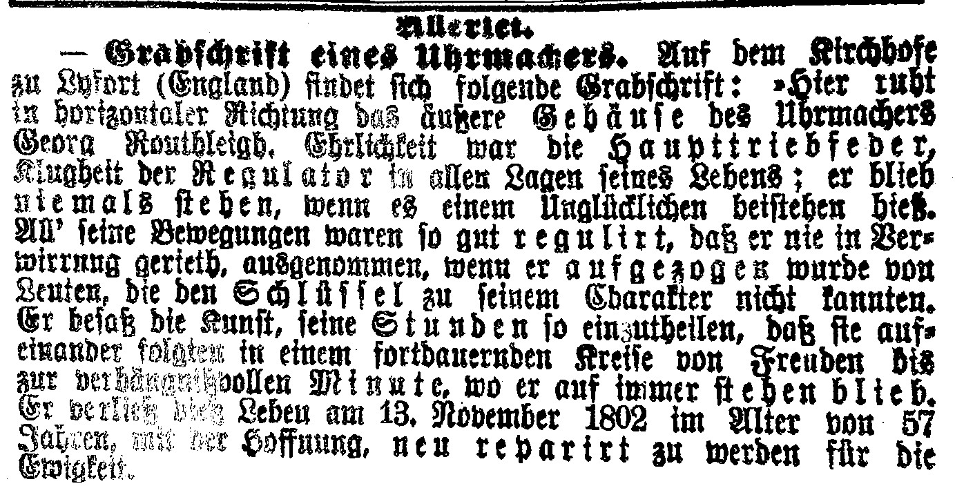 Ein alter Zeitungsausschnitt in altdeutscher Schrift: Grabschrift eines Uhrmachers